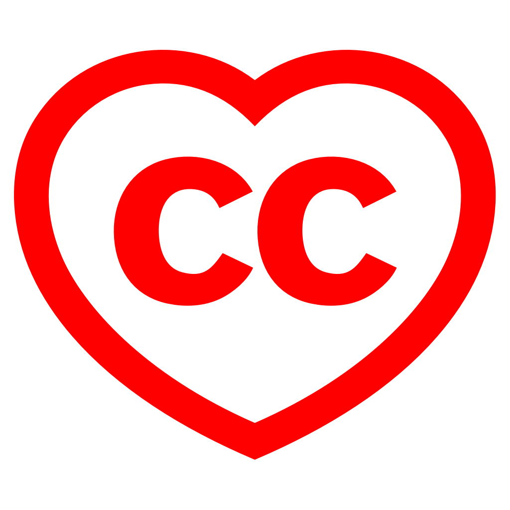 Red Creative Commons logo of CC surrounded by a red heart.